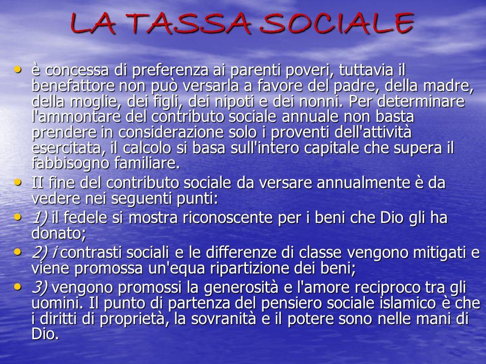 LA TASSA SOCIALE è concessa di preferenza ai parenti poveri, tuttavia il benefattore non può versarla a favore del padre, della madre, della moglie, d
