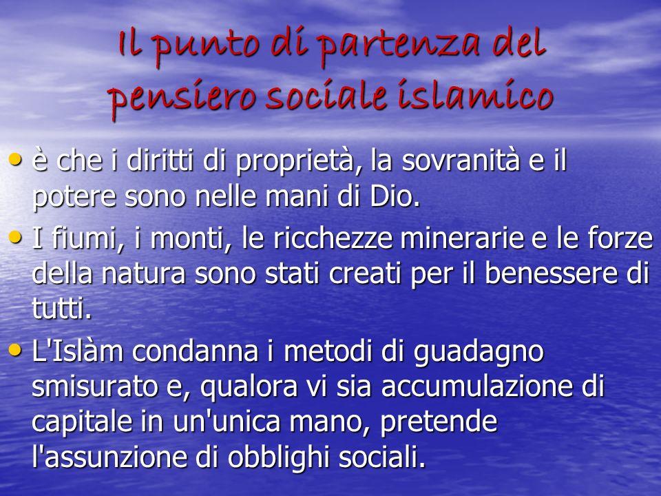 Il punto di partenza del pensiero sociale islamico è che i diritti di proprietà, la sovranità e il potere sono nelle mani di Dio. è che i diritti di p