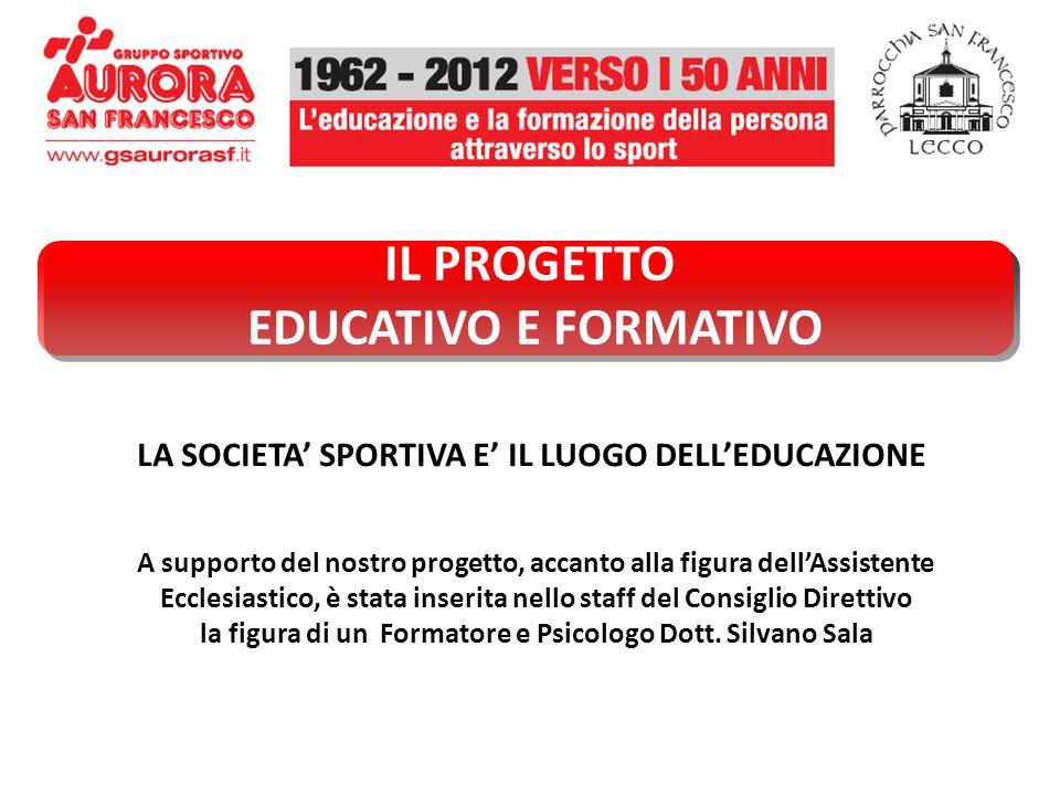 IL PROGETTO EDUCATIVO E FORMATIVO LA SOCIETA SPORTIVA E IL LUOGO DELLEDUCAZIONE A supporto del nostro progetto, accanto alla figura dellAssistente Ecc