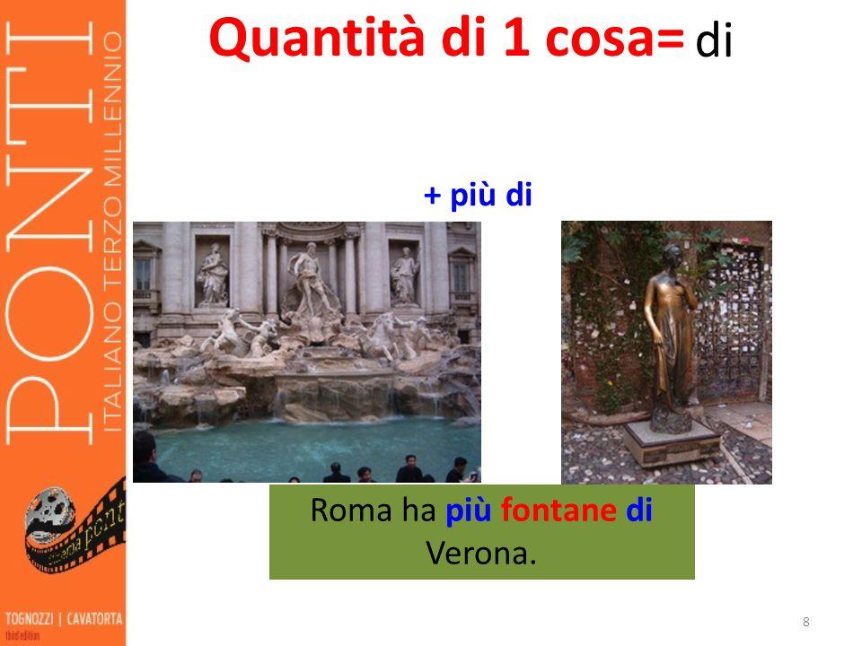 8 Quantità di 1 cosa= di + più di Roma ha più fontane di Verona.