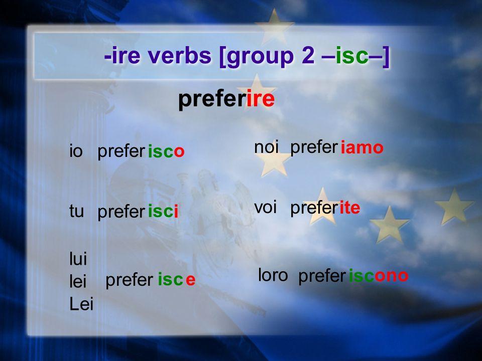 -ire verbs [group 1] irevest io tu lui lei Lei loro voi noi vest o i e iamo ite ono