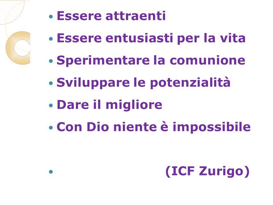 Essere attraenti Essere entusiasti per la vita Sperimentare la comunione Sviluppare le potenzialità Dare il migliore Con Dio niente è impossibile (ICF Zurigo)