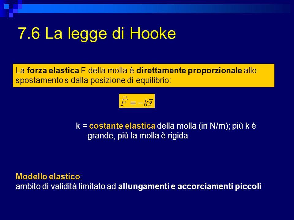 7.6 La legge di Hooke La forza elastica F della molla è direttamente proporzionale allo spostamento s dalla posizione di equilibrio: k = costante elas