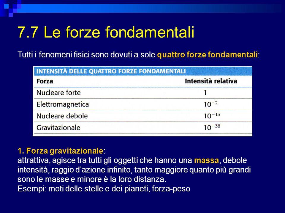 7.7 Le forze fondamentali Tutti i fenomeni fisici sono dovuti a sole quattro forze fondamentali: 1. Forza gravitazionale: attrattiva, agisce tra tutti