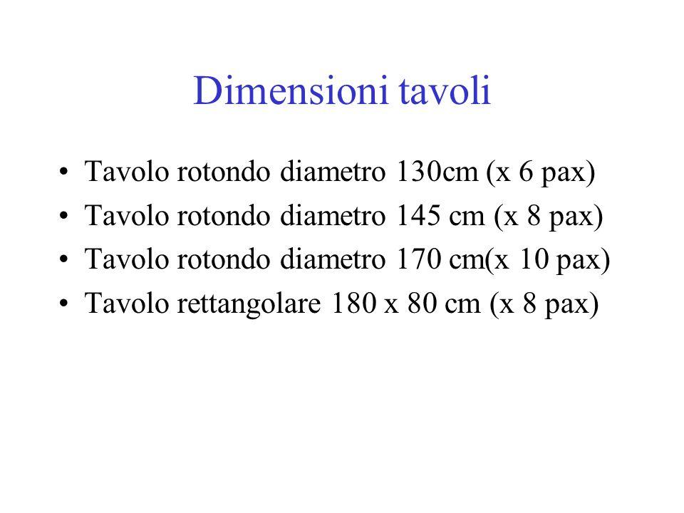 Dimensioni tavoli Tavolo rotondo diametro 130cm (x 6 pax) Tavolo rotondo diametro 145 cm (x 8 pax) Tavolo rotondo diametro 170 cm(x 10 pax) Tavolo ret