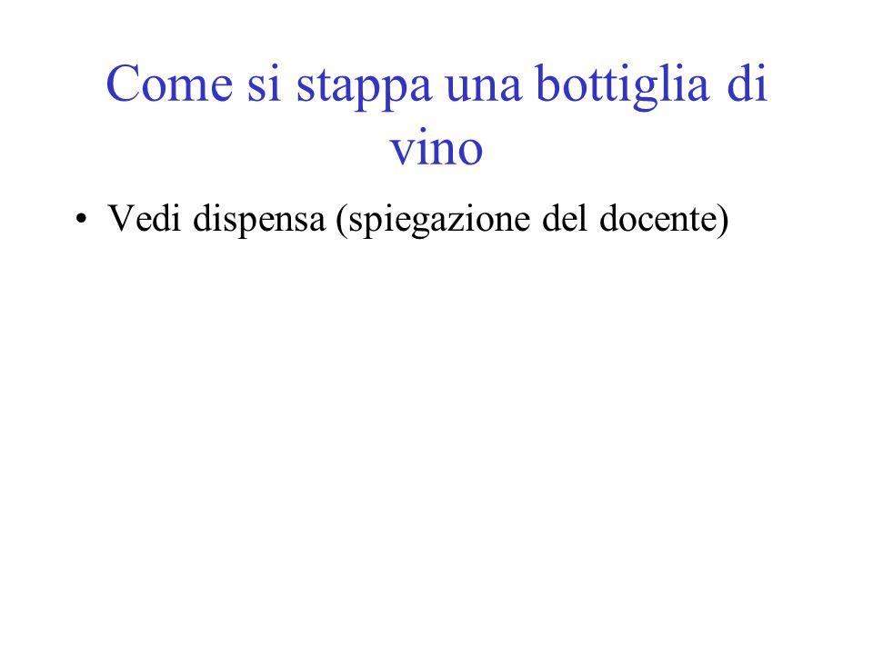 Come si stappa una bottiglia di vino Vedi dispensa (spiegazione del docente)
