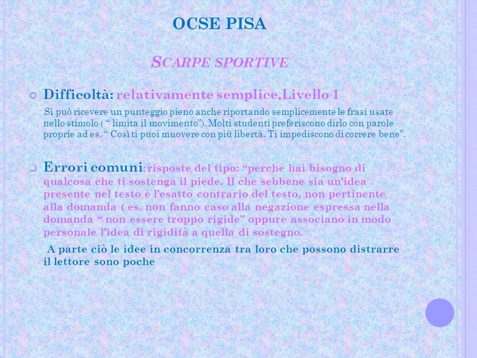 OCSE PISA S CARPE SPORTIVE Difficoltà: relativamente semplice,Livello 1 Si può ricevere un punteggio pieno anche riportando semplicemente le frasi usa