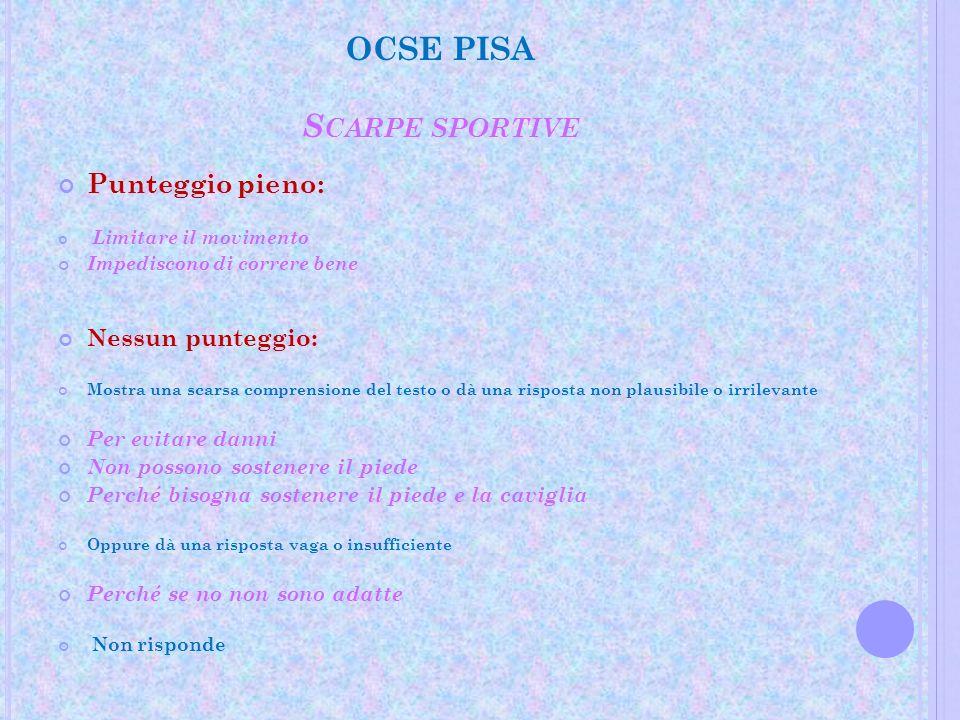 OCSE PISA S CARPE SPORTIVE Punteggio pieno: Limitare il movimento Impediscono di correre bene Nessun punteggio: Mostra una scarsa comprensione del tes