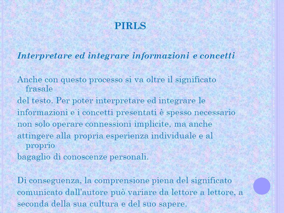PIRLS Interpretare ed integrare informazioni e concetti Anche con questo processo si va oltre il significato frasale del testo. Per poter interpretare