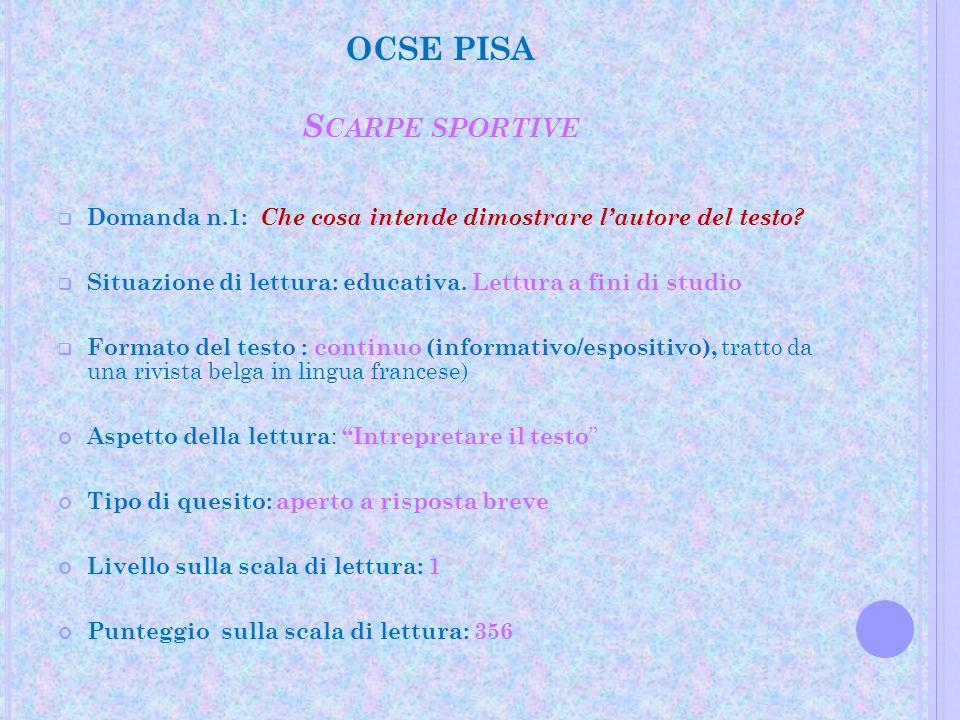 OCSE PISA S CARPE SPORTIVE Difficoltà: relativamente semplice,Livello 1 Si può ricevere un punteggio pieno anche riportando semplicemente le frasi usate nello stimolo ( limita il movimento).