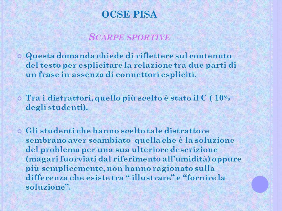 OCSE PISA S CARPE SPORTIVE Questa domanda chiede di riflettere sul contenuto del testo per esplicitare la relazione tra due parti di un frase in assen