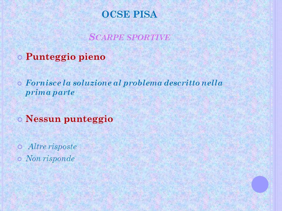 OCSE PISA S CARPE SPORTIVE Punteggio pieno Fornisce la soluzione al problema descritto nella prima parte Nessun punteggio Altre risposte Non risponde