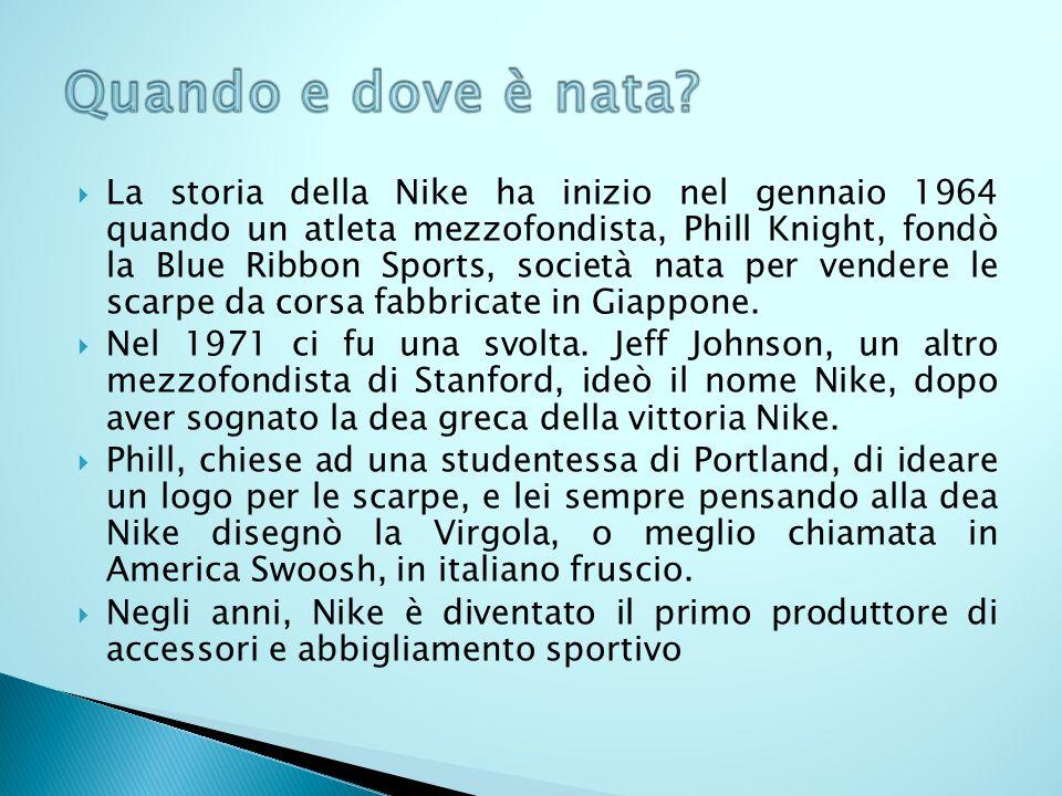 La storia della Nike ha inizio nel gennaio 1964 quando un atleta mezzofondista, Phill Knight, fondò la Blue Ribbon Sports, società nata per vendere le