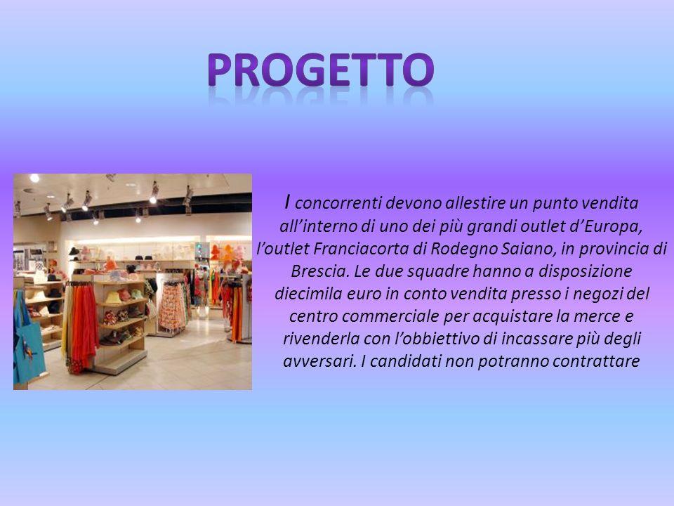 I concorrenti devono allestire un punto vendita allinterno di uno dei più grandi outlet dEuropa, loutlet Franciacorta di Rodegno Saiano, in provincia