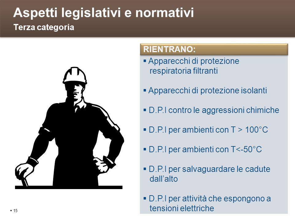 Aspetti legislativi e normativi 15 Terza categoria Apparecchi di protezione respiratoria filtranti Apparecchi di protezione isolanti D.P.I contro le a