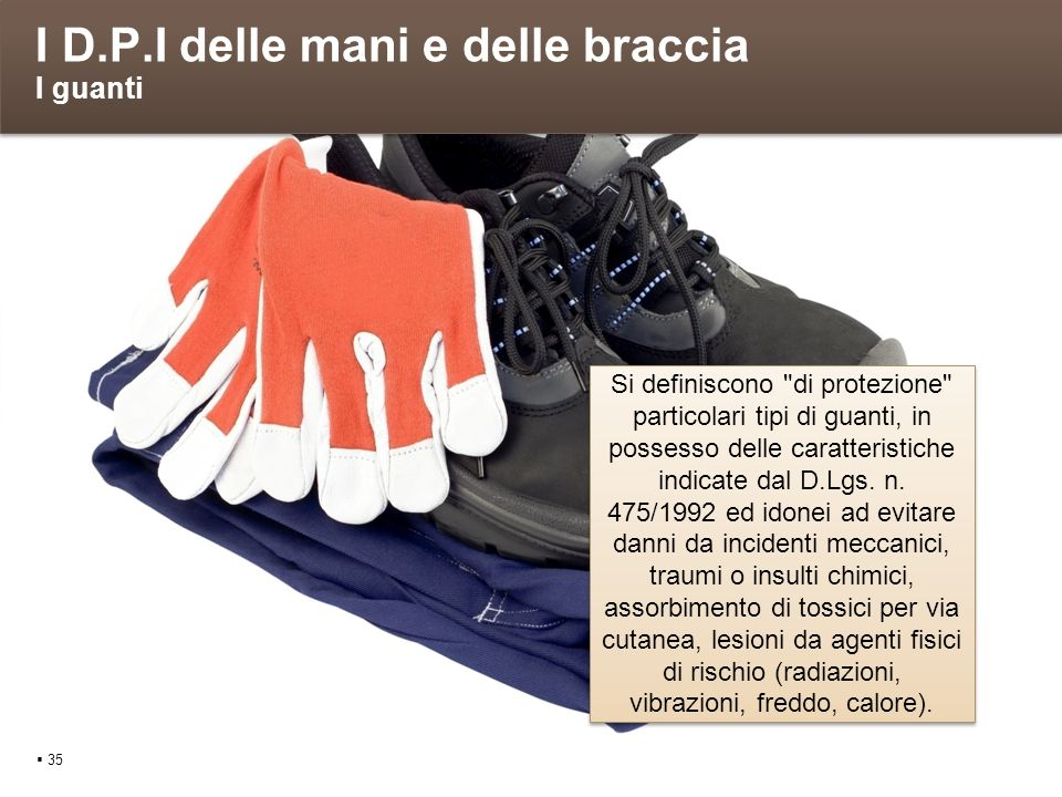 I D.P.I delle mani e delle braccia I guanti 35 Si definiscono