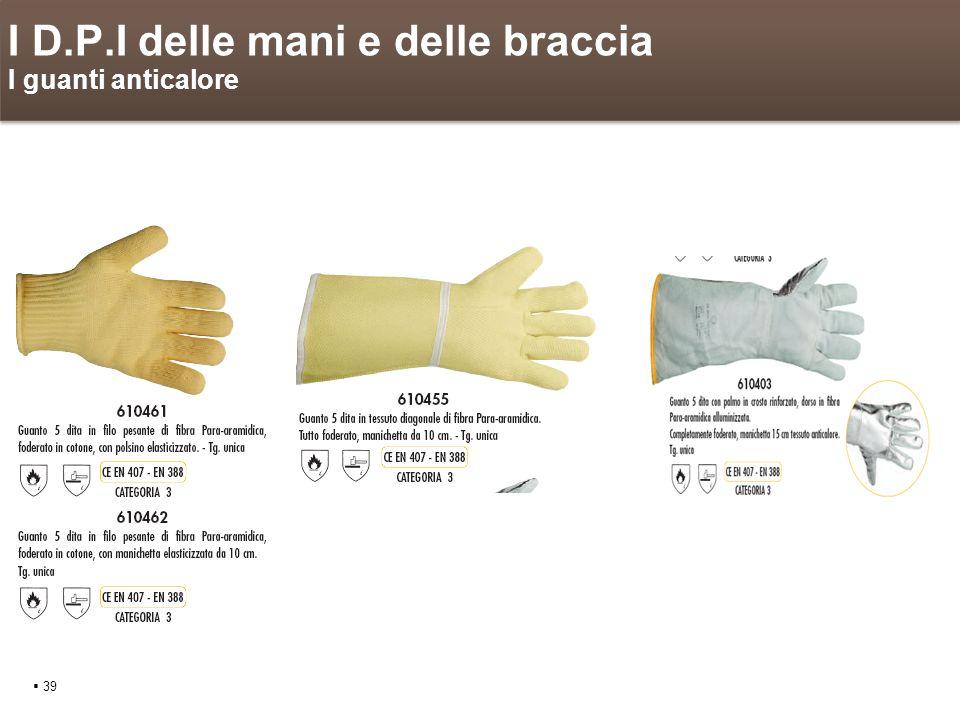 I D.P.I delle mani e delle braccia I guanti anticalore 39