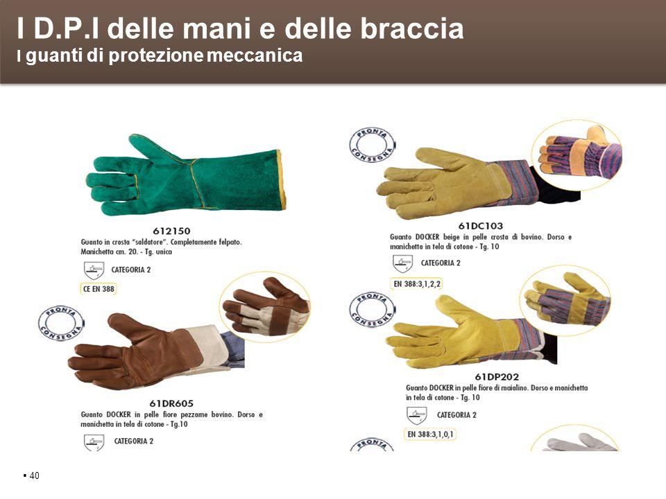 I D.P.I delle mani e delle braccia I guanti di protezione meccanica 40