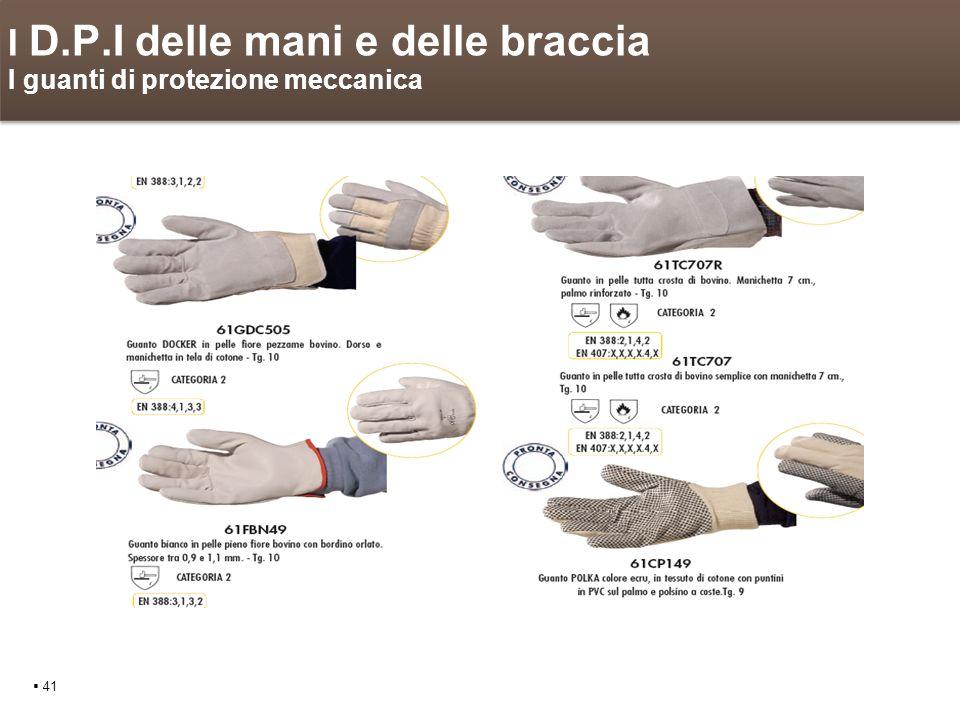 I D.P.I delle mani e delle braccia I guanti di protezione meccanica 41