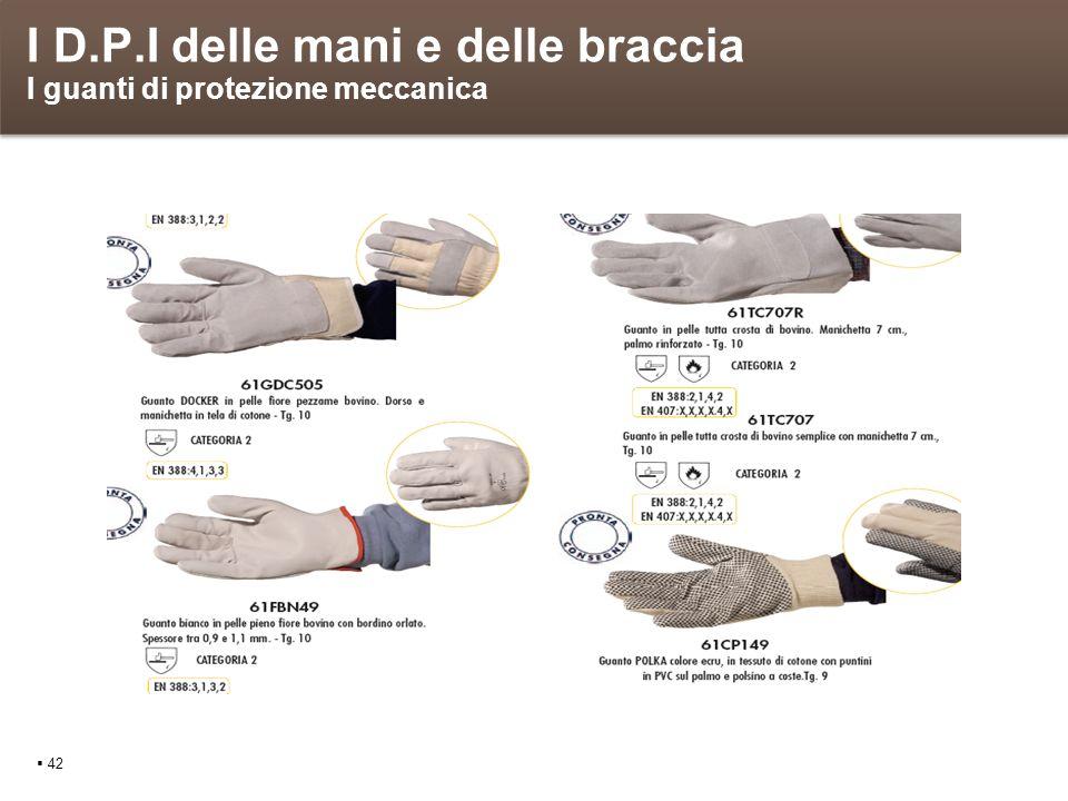 I D.P.I delle mani e delle braccia I guanti di protezione meccanica 42