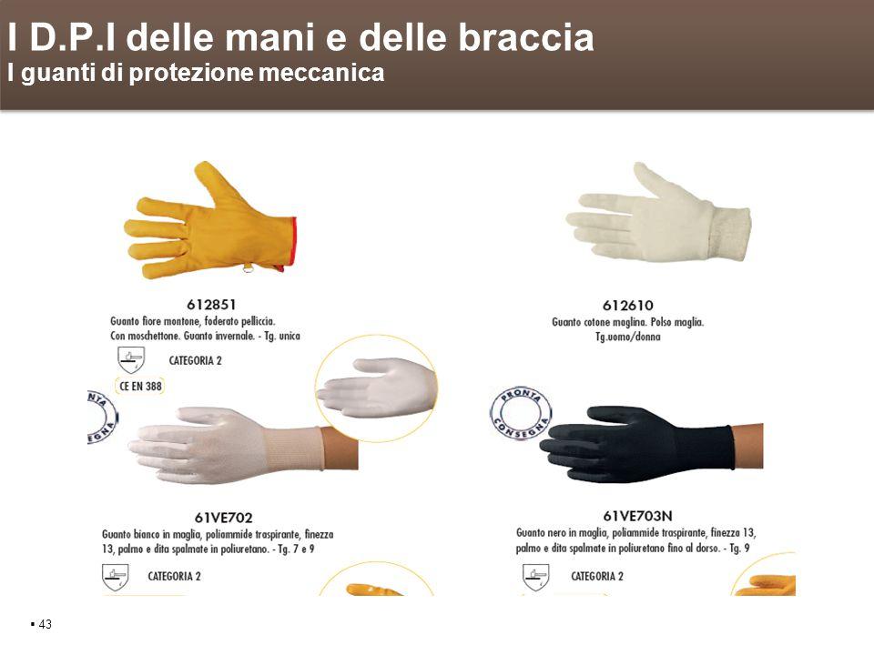 I D.P.I delle mani e delle braccia I guanti di protezione meccanica 43