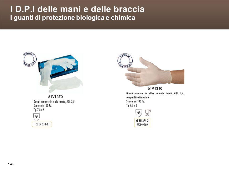 I D.P.I delle mani e delle braccia I guanti di protezione biologica e chimica 46