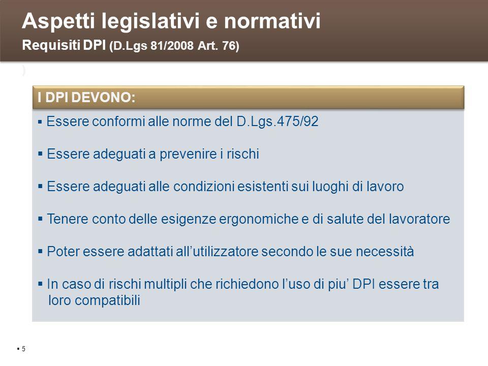 Aspetti legislativi e normativi 5 Requisiti DPI (D.Lgs 81/2008 Art. 76) ) Essere conformi alle norme del D.Lgs.475/92 Essere adeguati a prevenire i ri