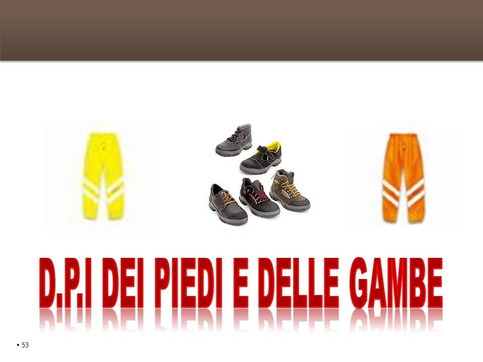I D.P.I dei piedi e delle gambe 54 Le scarpe protettive La scarpa di sicurezza è un dispositivo di protezione individuale atto a proteggere i piedi contro le aggressioni esterne e nel contatto verso il suolo