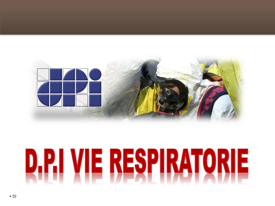 I D.P.I delle vie respiratorie Gli APVR 60 Gli APVR sono Dispositivi di Protezione Individuale di categoria III atti a proteggere il lavoratore dalle sostanze tossiche e nocive presenti in concentrazioni pericolose nellambiente lavorativo circostante