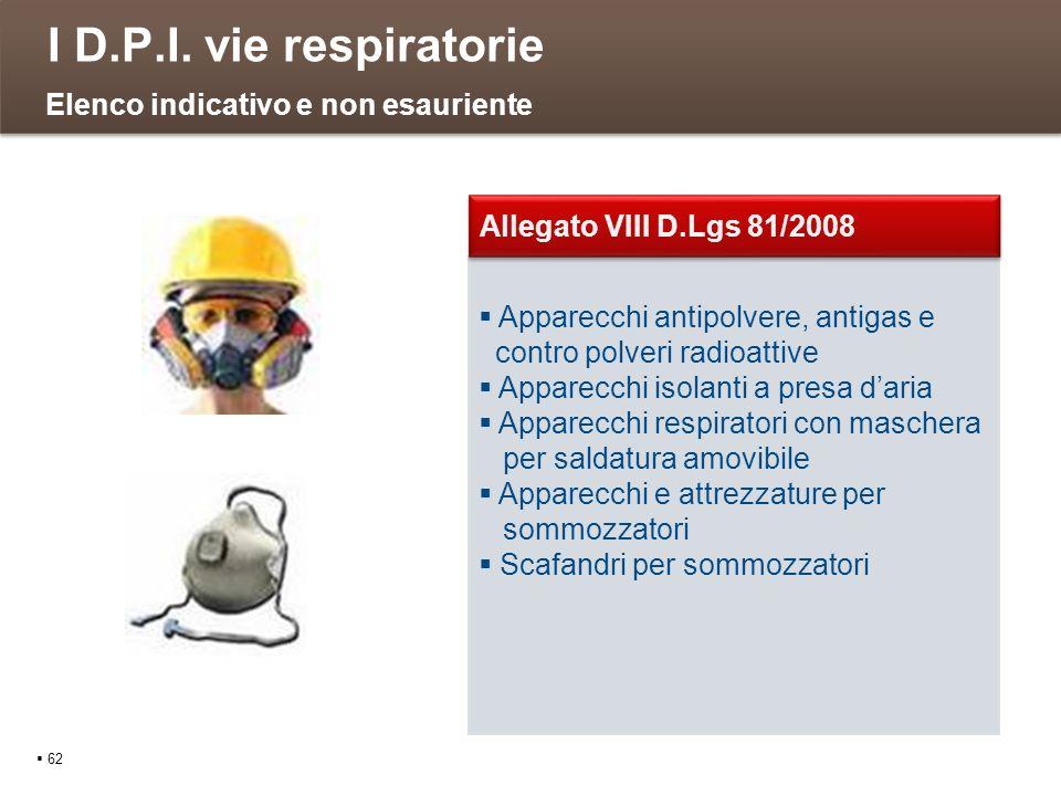 I D.P.I. vie respiratorie 62 Apparecchi antipolvere, antigas e contro polveri radioattive Apparecchi isolanti a presa daria Apparecchi respiratori con