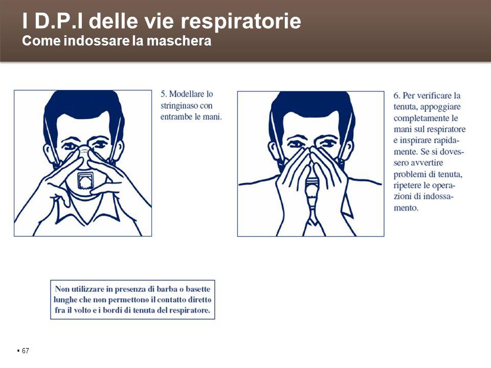 I D.P.I delle vie respiratorie Come indossare la maschera 67