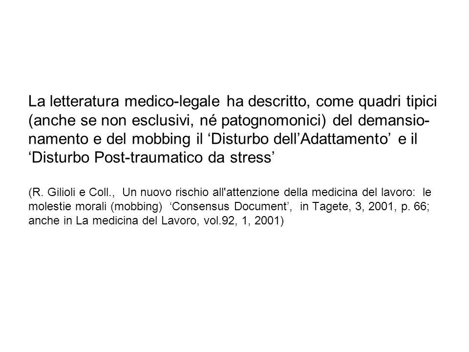 La letteratura medico-legale ha descritto, come quadri tipici (anche se non esclusivi, né patognomonici) del demansio- namento e del mobbing il Disturbo dellAdattamento e il Disturbo Post-traumatico da stress (R.