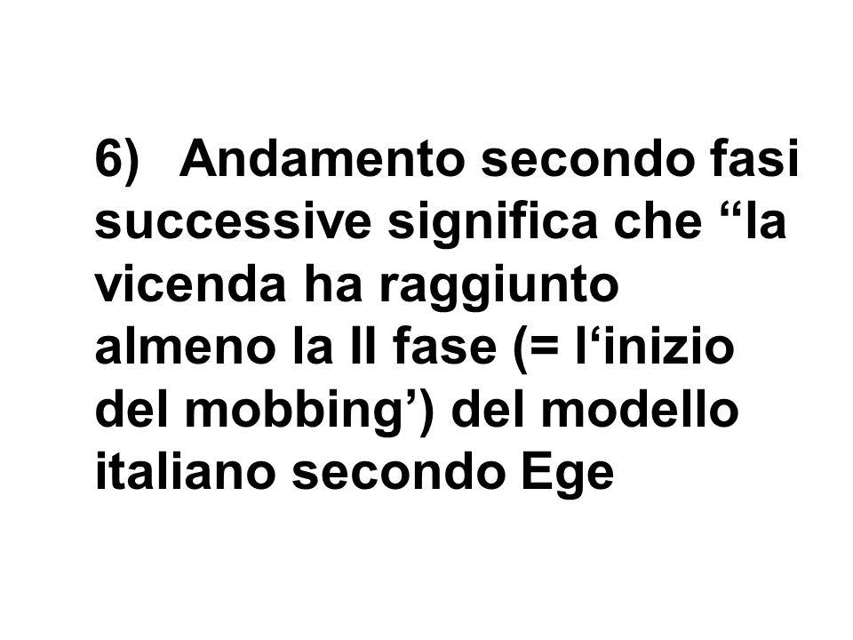 6)Andamento secondo fasi successive significa che la vicenda ha raggiunto almeno la II fase (= linizio del mobbing) del modello italiano secondo Ege