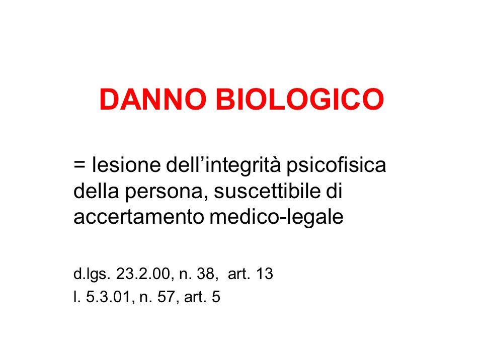 DANNO BIOLOGICO = lesione dellintegrità psicofisica della persona, suscettibile di accertamento medico-legale d.lgs. 23.2.00, n. 38, art. 13 l. 5.3.01