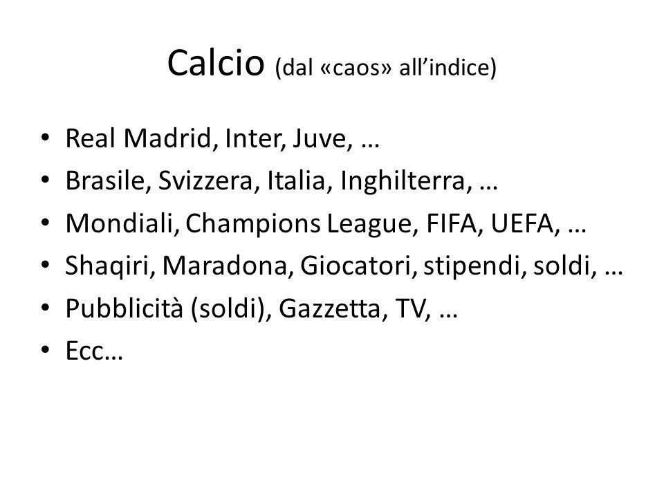 Calcio (dal «caos» allindice) Real Madrid, Inter, Juve, … Brasile, Svizzera, Italia, Inghilterra, … Mondiali, Champions League, FIFA, UEFA, … Shaqiri, Maradona, Giocatori, stipendi, soldi, … Pubblicità (soldi), Gazzetta, TV, … Ecc…