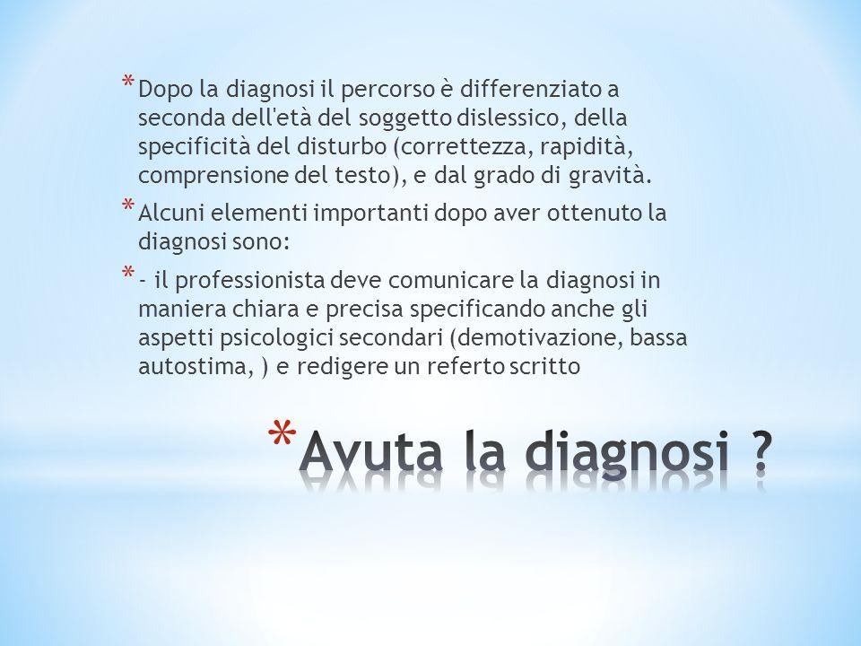 * Dopo la diagnosi il percorso è differenziato a seconda dell'età del soggetto dislessico, della specificità del disturbo (correttezza, rapidità, comp