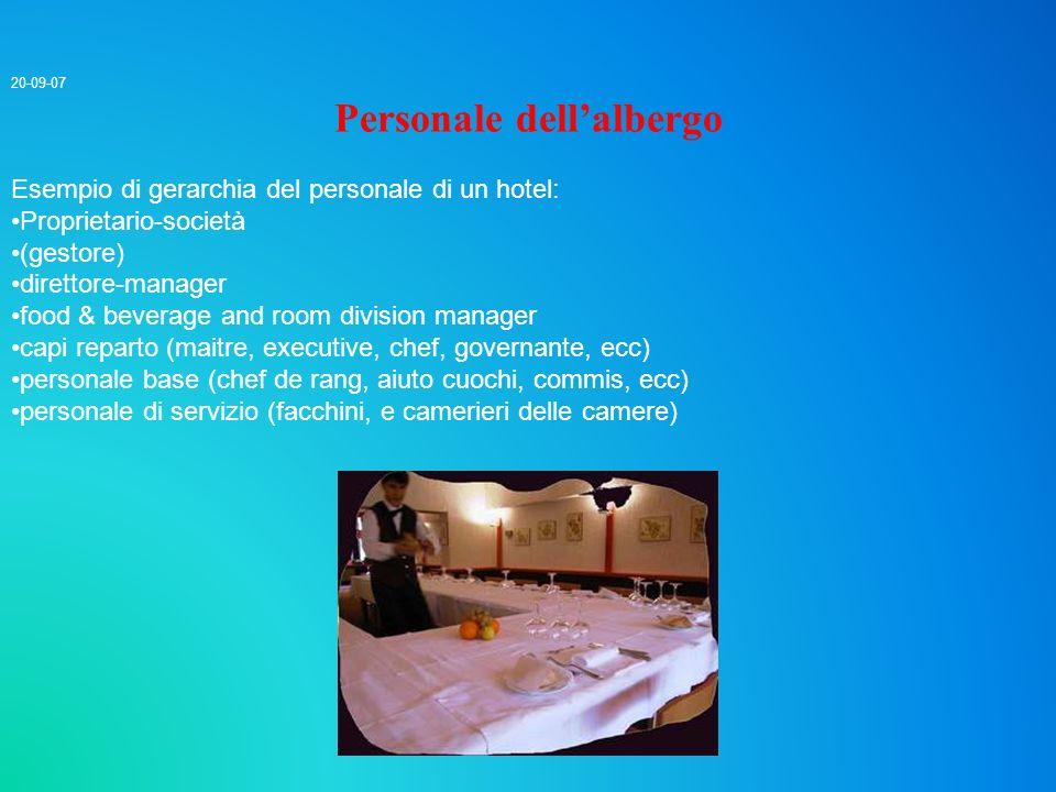 20-09-07 Personale dellalbergo Esempio di gerarchia del personale di un hotel: Proprietario-società (gestore) direttore-manager food & beverage and ro
