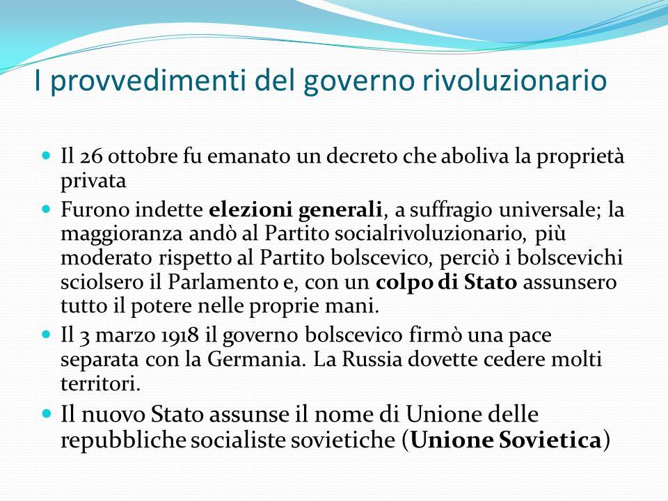 I provvedimenti del governo rivoluzionario Il 26 ottobre fu emanato un decreto che aboliva la proprietà privata Furono indette elezioni generali, a su