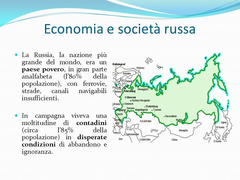 Economia e società russa La Russia, la nazione più grande del mondo, era un paese povero, in gran parte analfabeta (l80% della popolazione), con ferro