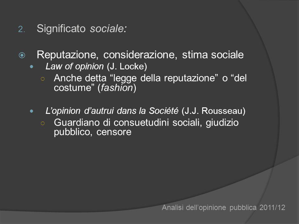 2. Significato sociale: Reputazione, considerazione, stima sociale Law of opinion (J. Locke) Anche detta legge della reputazione o del costume (fashio