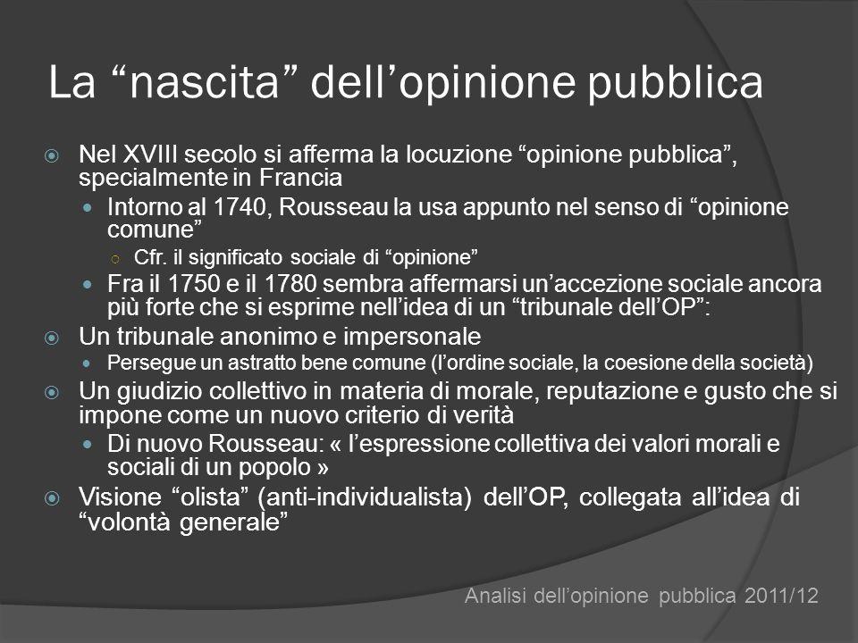 La nascita dellopinione pubblica Nel XVIII secolo si afferma la locuzione opinione pubblica, specialmente in Francia Intorno al 1740, Rousseau la usa