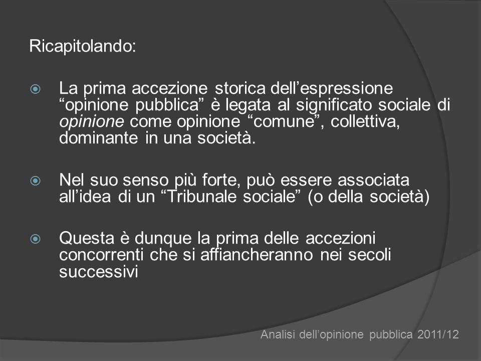Ricapitolando: La prima accezione storica dellespressione opinione pubblica è legata al significato sociale di opinione come opinione comune, colletti