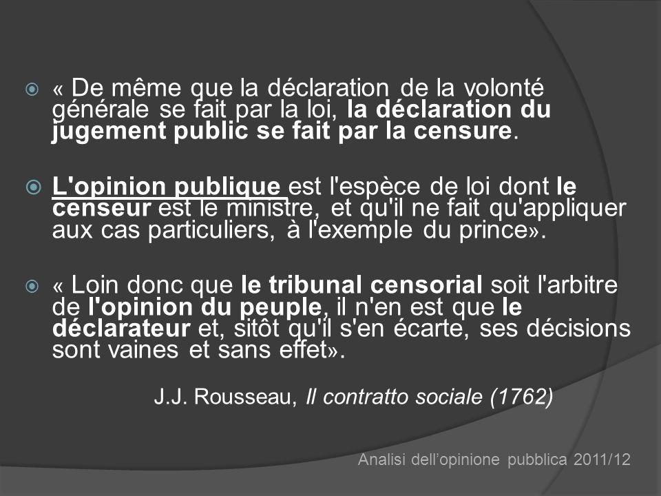 « De même que la déclaration de la volonté générale se fait par la loi, la déclaration du jugement public se fait par la censure.