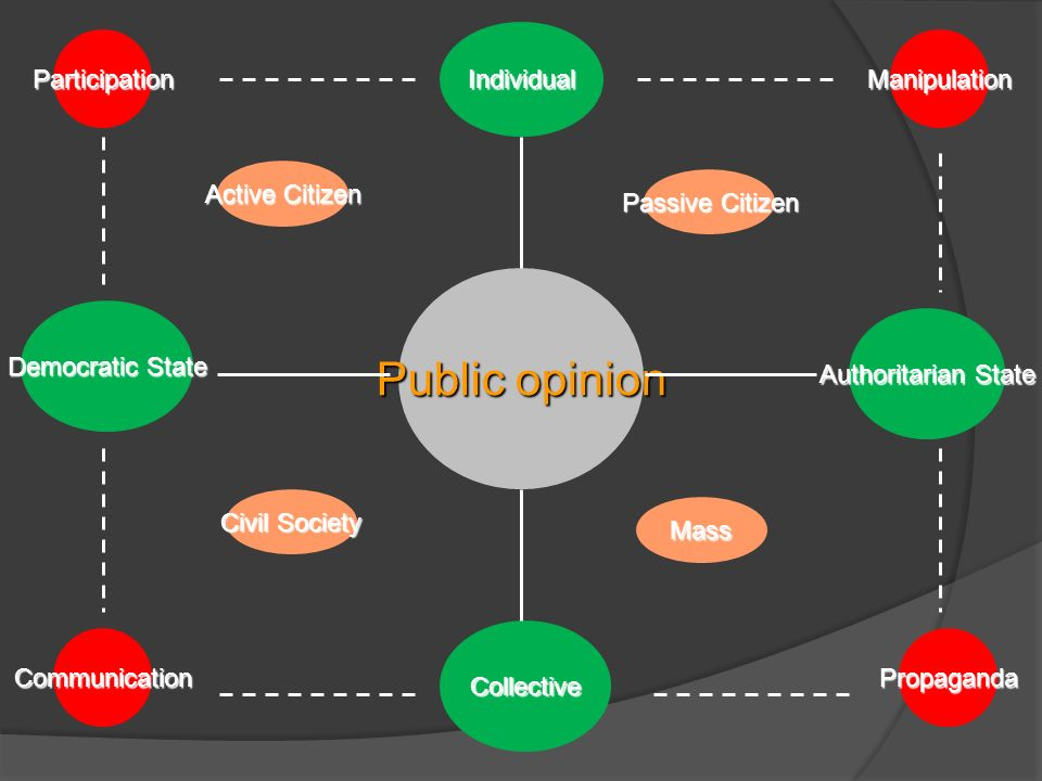 Public opinion Democratic State Authoritarian State Individual ParticipationManipulation PropagandaCommunication Active Citizen Civil Society Passive Citizen Mass Collective