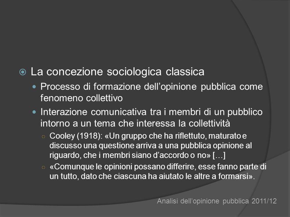 La concezione sociologica classica Processo di formazione dellopinione pubblica come fenomeno collettivo Interazione comunicativa tra i membri di un p