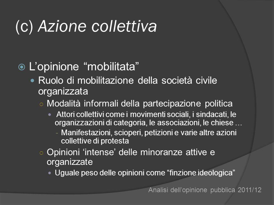 (c) Azione collettiva Lopinione mobilitata Ruolo di mobilitazione della società civile organizzata Modalità informali della partecipazione politica At