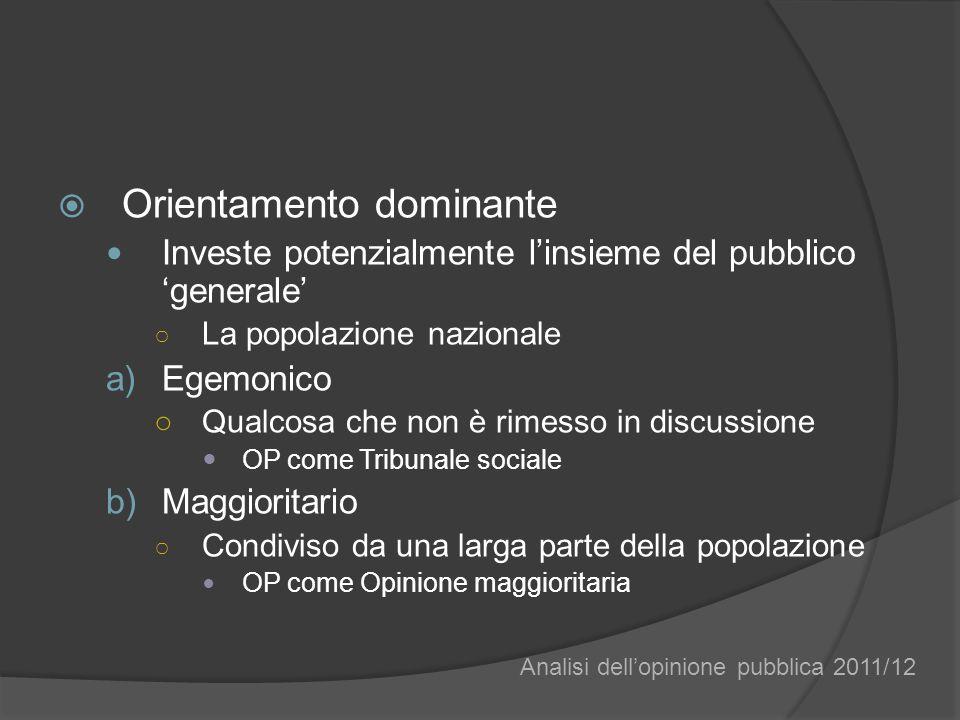 Orientamento dominante Investe potenzialmente linsieme del pubblico generale La popolazione nazionale a)Egemonico Qualcosa che non è rimesso in discus