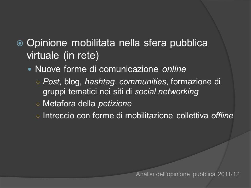 Opinione mobilitata nella sfera pubblica virtuale (in rete) Nuove forme di comunicazione online Post, blog, hashtag. communities, formazione di gruppi