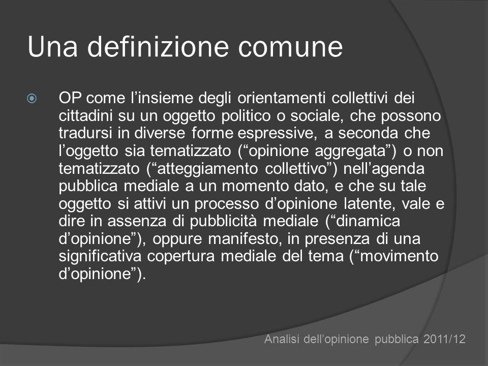Una definizione comune OP come linsieme degli orientamenti collettivi dei cittadini su un oggetto politico o sociale, che possono tradursi in diverse