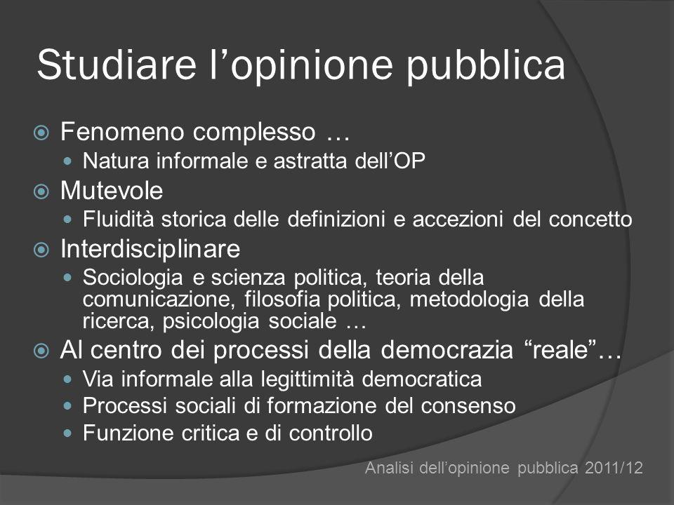 I.Atteggiamento collettivo Uno stato dopinione su un oggetto non tematizzato nellagenda pubblica.